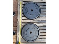 2x 10KG weight plates, 1 inch holes