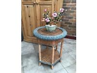 Bamboo Wicker Plant Stand Coffee Table