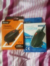 2 brand new sealed mico usb chargers for phones like Samsung Sony LG and so on/ 5 pound each
