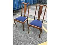Pair of vintage dining chairs in mahogany