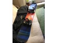 Snowboard, bindings and bag.