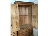 Solid Wood Antique Pine Wardrobe with Top Hanging & 2 Drawers - Great Condition