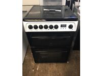 Hotpoint HUE61 60cm Double Electric Cooker in Black & White #3804