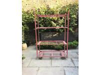 Vintage Pink Metal-Wire Shelf / Rack