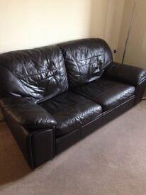 Leather double sofa-bed, black, good condition.