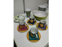 Cute Colourful set of 4 Espresso Coffee Cups / Mugs with Saucers