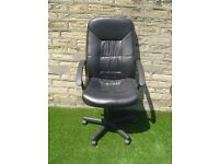 Black Faux Leather Office Chair with Extra High Gas Lift - For Workshop Benches, Drawing Boards etc