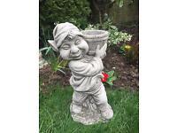 Stone garden pixie statue, planter, fantastic detail. New