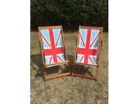 Deckchairs x 2 (Union Jack design) very good condition