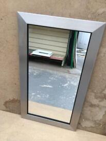"""brushed silver framed mirror 29""""x17"""""""