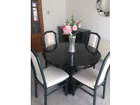Dining Table, 4 Chairs, sideboard and cabinet