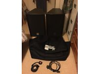 "HK Audio Elias PX 12"" top speakers x's 2 with cases and kettle leads."