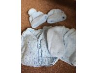 Hand knitted baby boys cardigans and hats 0-3