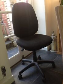 Office chair, swivel, adjustable height and angle, charcoal grey, matching, excellent condition