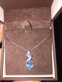 9ct White Gold, Diamond and Blue Topaz Necklace