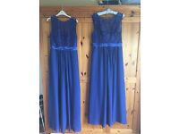 2x Royal blue bridesmaid dresses - 1 size 8-10 and 1 size 14-16