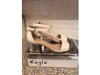 Clark's T bar, white/silver heeled shoes size 7