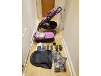 Uppababy Vista 2015 , Pram, toddler seat, carry cot + Rumble seat and adapters Amethyst (Samantha)
