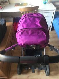Purple Oyster pushchair and basonette