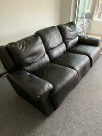 Large 3 seat leather recliner