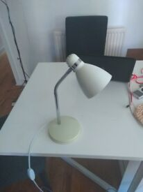 Adjustable desk lamp or bedside lamp, white with bulb included