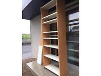 2 bays of Beech framed bookshelves with metal shelves