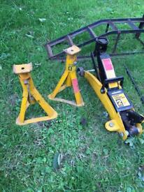 Trolley jack, axle stands and ramps