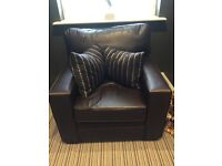 Brown bucket faux leather armchair