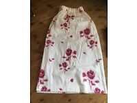 Pair of barely used, cream curtains with maroon (/deep pink) flower detail