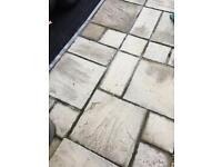 Buff patio slabs (mixed sizes)