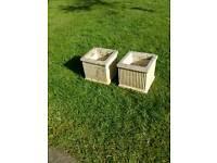 "Two small 8"" square garden pots"