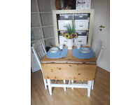 """Shabby Chic"" Drop leaf table and four chairs (white and duck egg blue)"