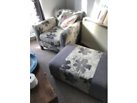 Accent armchair and matching footstool