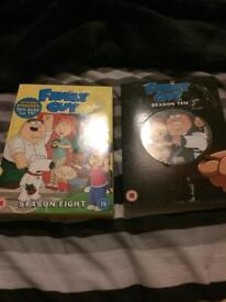 PICKUP ONLY. Family guy season 8 and 10 dvds