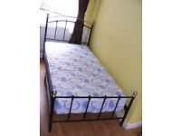 CAN DELIVER - BEAUTIFUL SINGLE BED WITH MATTRESS - HAS SPACE UNDER - VERY GOOD CONDITION