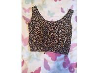 Leopard print cropped top size 8