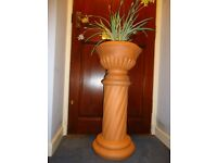 JARDINIERE 2 PIECE FRENCH TERRRACOTTA AND STAND