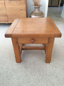 Rustic Solid Oak side table with drawer.