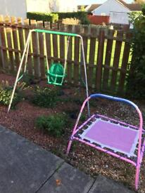 Swing and trampoline