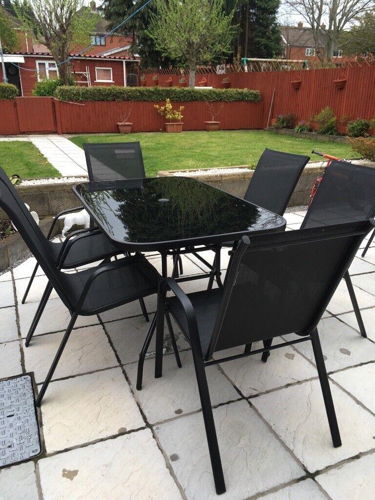 Argos garden furniture black glass table 6 chairs excellent condition