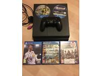 PlayStation 4 with GTA 5 FIFA 18 , 17 16 assassins creed syndicate, controller and leads