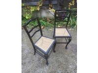 Stunning pair of hand painted Victorian cane seated side chairs