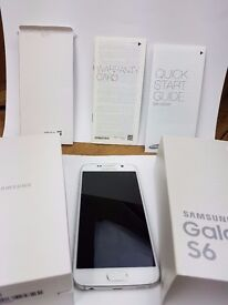 BOXED WHITE PEARL 32GB SAMSUNG GALAXY S6 SM-G920F UNLOCKED MOBILE PHONE EXCELLENT COND / NON SMOKER
