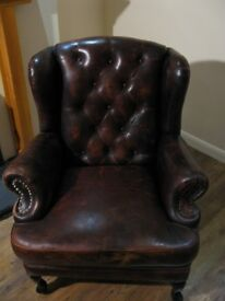Beautiful Real Leather Chesterfield Wing-back Armchair wing back