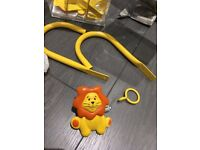 1.2m 2m Metal Childrens Yellow Orange Lion Extendable Curtain Pole Tieback