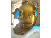 full size [reproduction] divers helmet good detail /turned into a lamp with 4to5 diff coloures