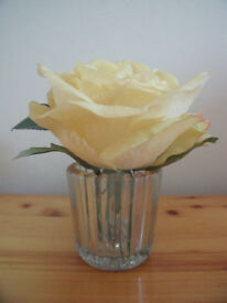 Artificial, faux, immitation, silk, realistic yellow rose & leaves in glass vase.