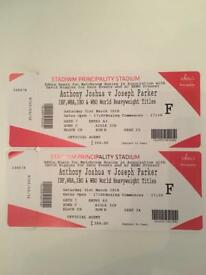 Sale!! Selling at a discount. 2 x Anthony Joshua v Joseph Parker tickets.