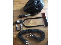 Bike locks, helmet, pump