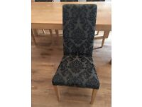 Six damask print dining chairs with oak legs, excellent condition, from a smoke free house